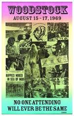 This Woodstock promotional Concert Poster features the artist lineup for the 3 day music festival which contributed to one of the largest motivators in the hippie subculture. 14 x 22