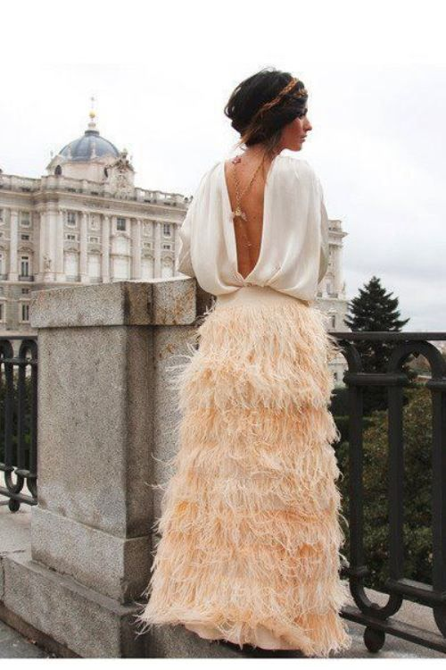 absolutely love- completely feather skirt and backless shirt