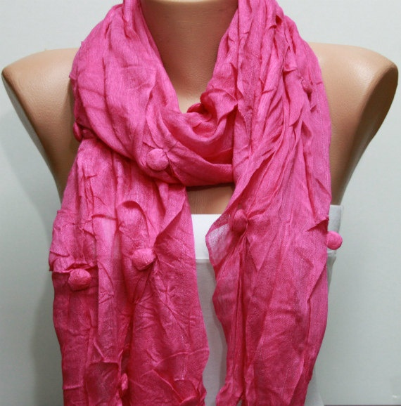 WAS 19 NOW 15  HOT PINK  SHAWL SCARF  - BY FATWOMAN ON ETSY, $15.00