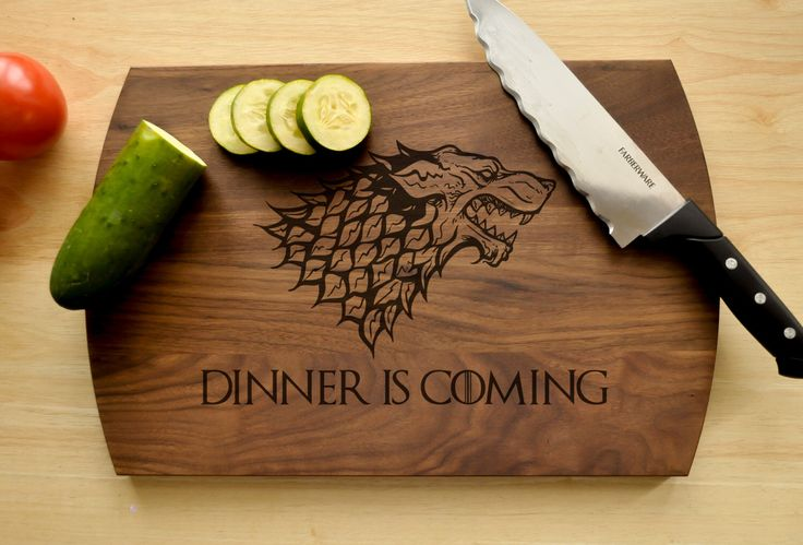 Game of Thrones Cutting Board, Engraved Cutting Board, GoT, House Stark, Dinner is Coming Cutting Board, Game of Thrones Gift, Present by CircleCityDesignCo on Etsy https://www.etsy.com/listing/275503424/game-of-thrones-cutting-board-engraved
