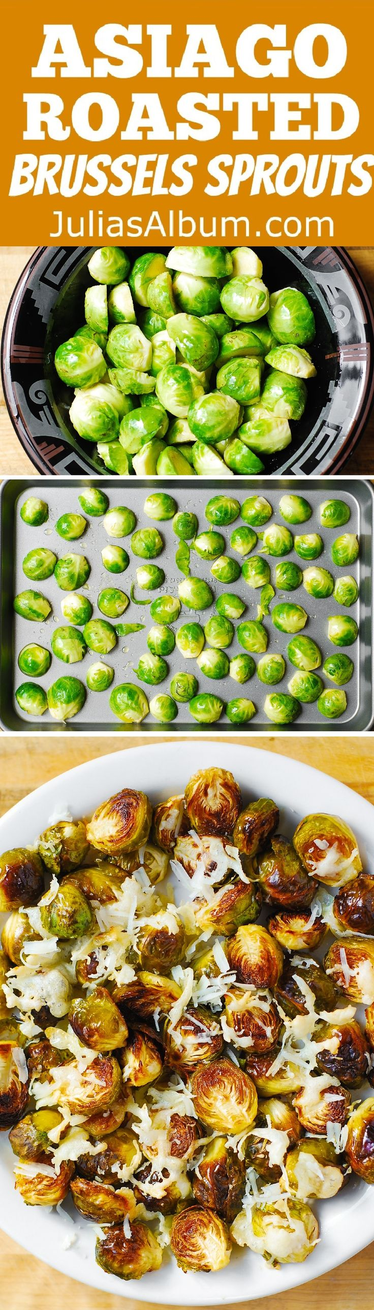 Asiago Roasted Brussels Sprouts - crunchy, delicious little bites covered in melted Asiago cheese goodness. #Thanksgiving #glutenfree #healthy
