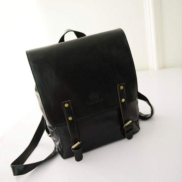 Retro Leather Double Belt British College Backpacks