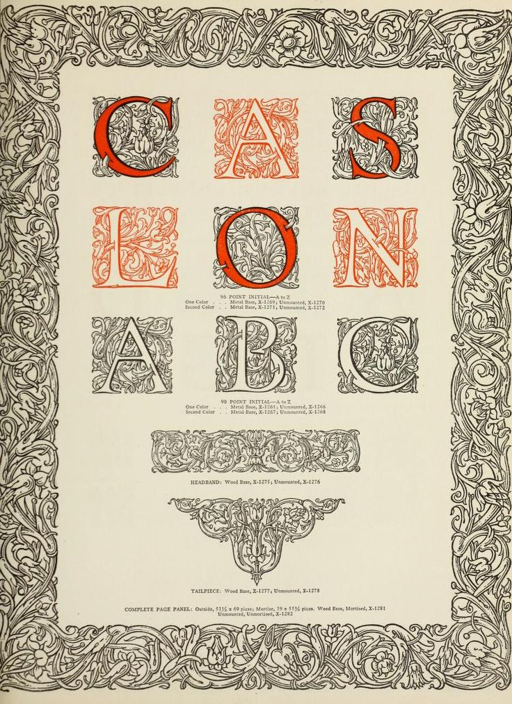 caslon initials from the manual of linotype typography prepared to aid users and producers of