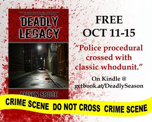 TODAY'S REVOLVING BOOK is the mystery DEADLY LEGACY by ALISON BRUCE. A Carmedy & Garrett Mystery Book 1. Get it #FREE ON AMAZON.   FREE ON...