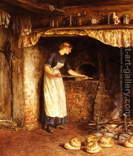 'Baking Bread' by English painter Helen Allingham (1848-1926). Watercolor painter and illustrator of the Victorian era. ~ The bread is a traditional Cottage Loaf which originated in England, characterized by its shape, which is essentially that of two round loaves, one on top of the other, with the upper one being smaller: