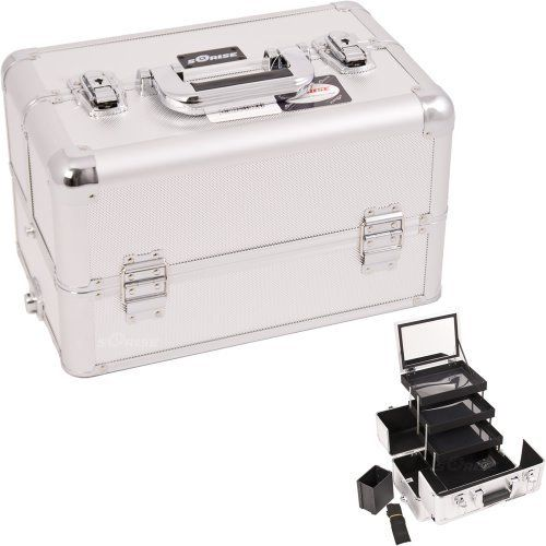 """SILVER INTERCHANGEABLE 3-TIERS EXTENDABLE TRAY DOT PATTERN PROFESSIONAL ALUMINUM COSMETIC MAKEUP CASE WITH MIRROR - E3305 by SunRise. $66.95. New interchangeable series. Upgradable to any """"E"""" series top cases. This line will allow customer to mix and match any """"E"""" series cases according to their needs. New interchangeable series. Attachable to any """"E"""" series rolling cases. This line will allow customer to mix and match any """"E"""" series cases according to their needs. Th..."""