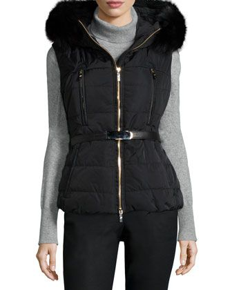 Fox Fur-Trim Belted Vest by Gorski at Neiman Marcus.