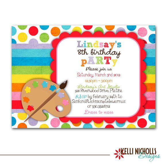 Art Birthday Party Invitation - Bright Colors. $15.00, via Etsy.