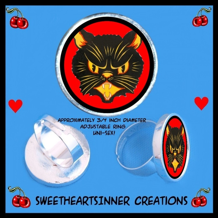 Retro Black Cat Adjustable Silver tone Ring by by sweetheartsinner, $7.00