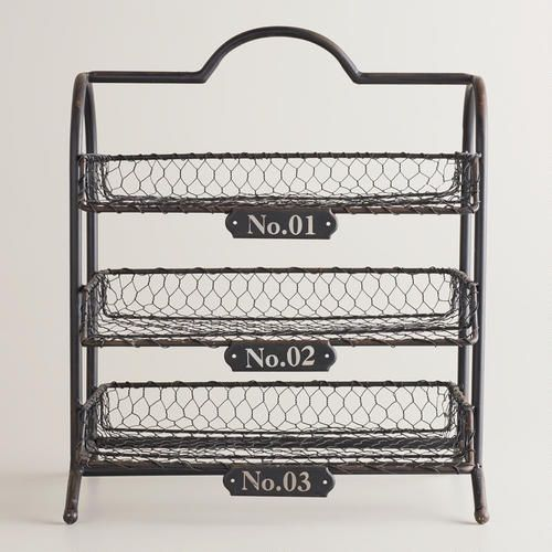 Espresso Austin 3-Tier Wire Tray | World Market. Possible coffee mug and k cup storage?
