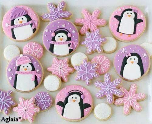 girly penguin decorated cookies