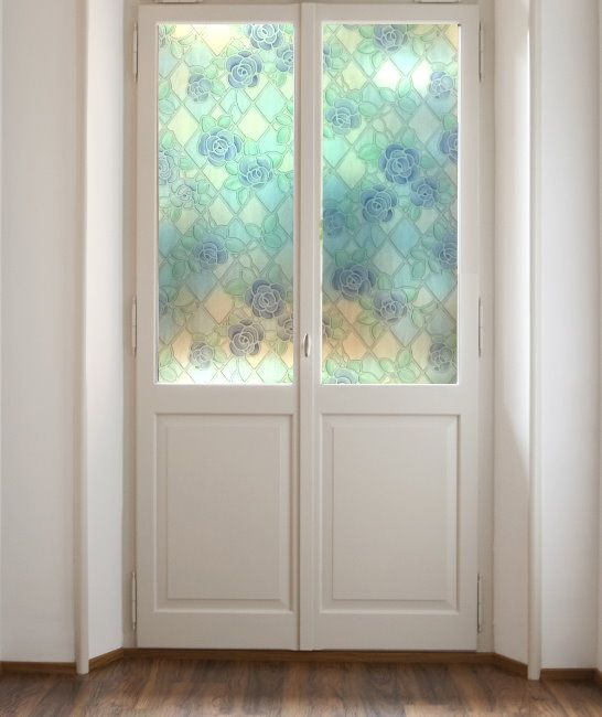 Amiens Blue Stained Glass Adhesive Window Film on sale