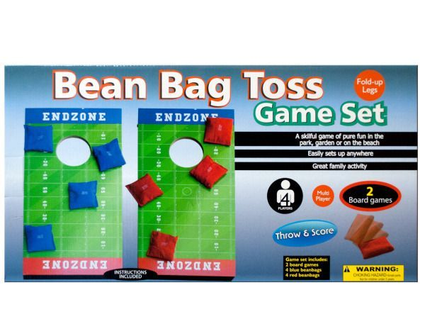 "Toss n' Score Bean Bag Toss Game Set, 4 - A skillful game of pure fun for the lawn, park or beach, this Toss n' Score Bean Bag Toss Game Set features wood and plastic game boards in a football field design with fold-up legs. Includes 2 board games, 4 blue bean bags and 4 red bean bags. Boards measure approximately 20.25"" x 10.625"". For up to 4 players. Easily sets up anywhere. Instructions included. For ages 3 and up. Comes packaged in an individual box. Box measures approximately 20.625"" x…"