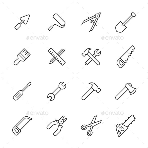 Tools Line Icons. Download here: http://graphicriver.net/item/tools-line-icons/15222106?ref=ksioks