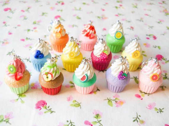 3 for 15 Polymer Clay Charms, Fruit Cupcake Charms, Clip Charms, Fruit, Cupcake, Cute, Charms, Polymer Clay, Miniature Food, Stitch Marker