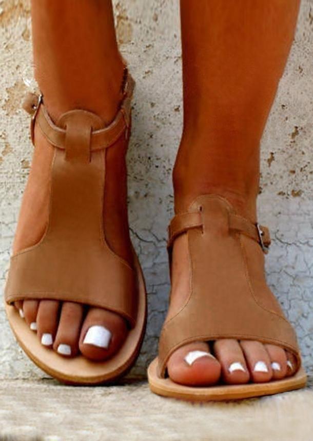 9e751ca3ec9  AdoreWe  FairySeason -  FairySeason Solid Buckle Strap Flat Sandals -  AdoreWe.com