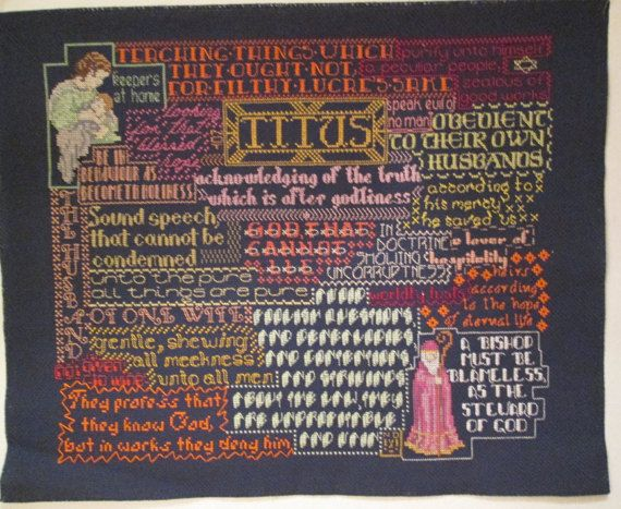 Bible Collage - Finished Cross Stitch - Book of Titus - King James - Ready to Frame - One-of-a-Kind - with Free Shipping