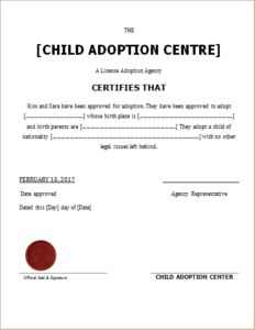 Child Adoption Certificate Download At HttpWwwTemplateinnCom