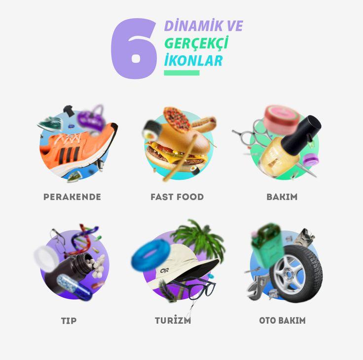 6 Adet Dinamik Gerçekçi ikonlar - #psd #download #freebie