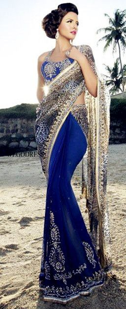 Indian fashion  Saree / Sari Royal blue and gold Net Embroidery  Elegant