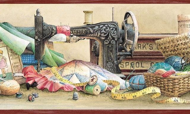 Vintage Style Sewing Machine Wallpaper Border SB10223B