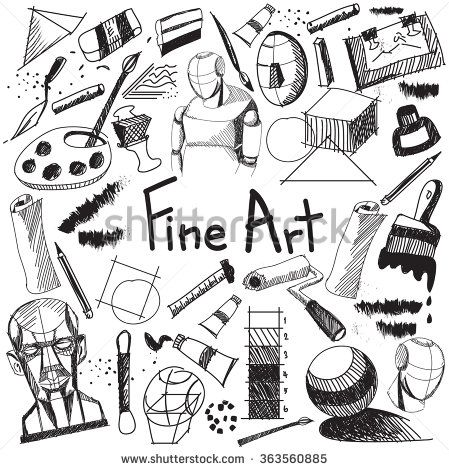 Fine art equipment and stationary handwriting doodle and tool model icon in white isolated background paper used for school or college education and document decoration with subject  text (vector)