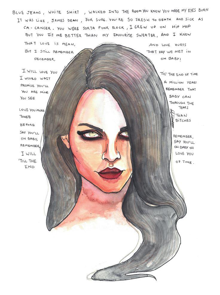 «Blue Jeans, white shirt»  Lana del Rey' song by @aleksandravss  #aleksandrav #lanadelrey #watercolor #art #ink #love #bluejeans #music