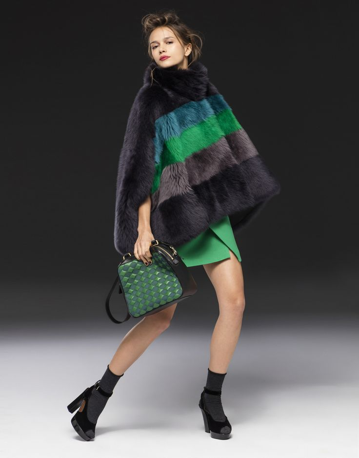 Retro Chic - Black Fur Coat Accented with a Vibrant Green to Blue Striped Design and Green Short Skirt Ensemble - Emporia Armani Pre-Fall 2016 Fashion Show