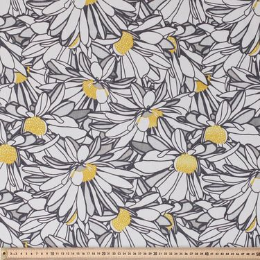 Daizey Printed Sun Out Fabric Silver 150 cm