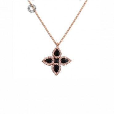 Ένα πρωτότυπο κολιέ σταυρός από ροζ χρυσό Κ18 με 1 καρέ & 4 δάκρυα μαύρα διαμάντια & μικρά λευκά διαμάντια | Κόσμημα - Ρολόι ΤΣΑΛΔΑΡΗΣ στο Χαλάνδρι #σταυρος #διαμαντια #λευκοχρυσο #κολιε