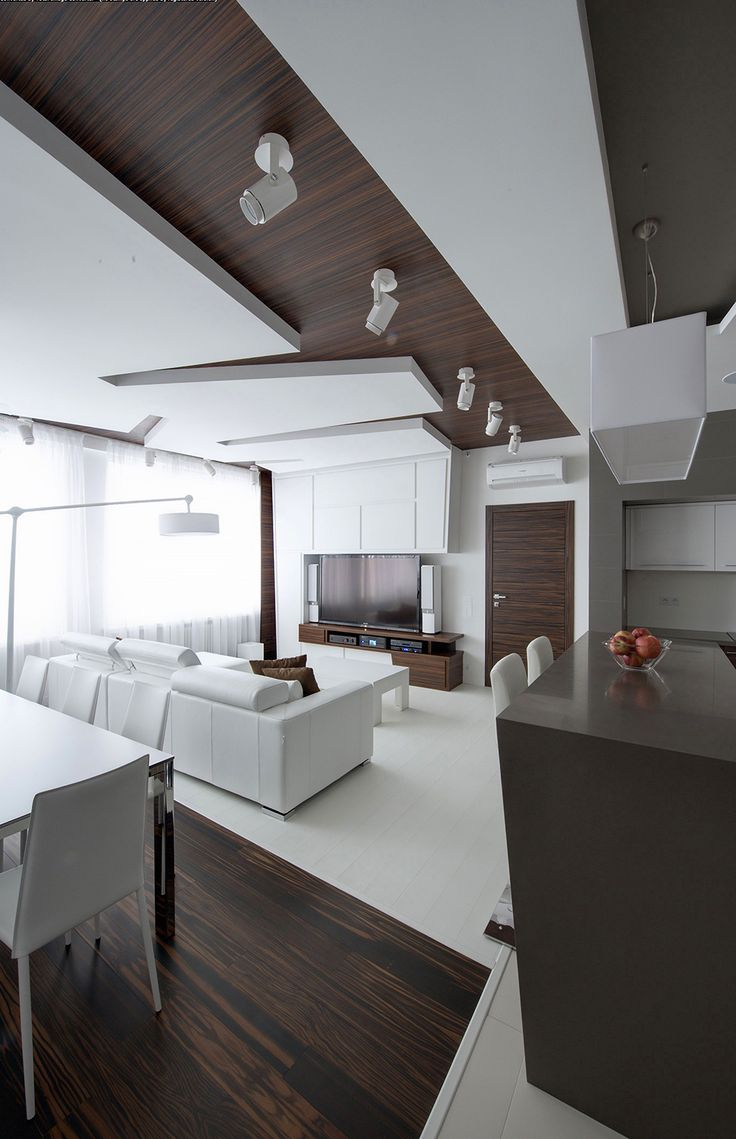 wood and white Dramatic All White Renovated Apartment in Moscow by Vladimir Malashonok