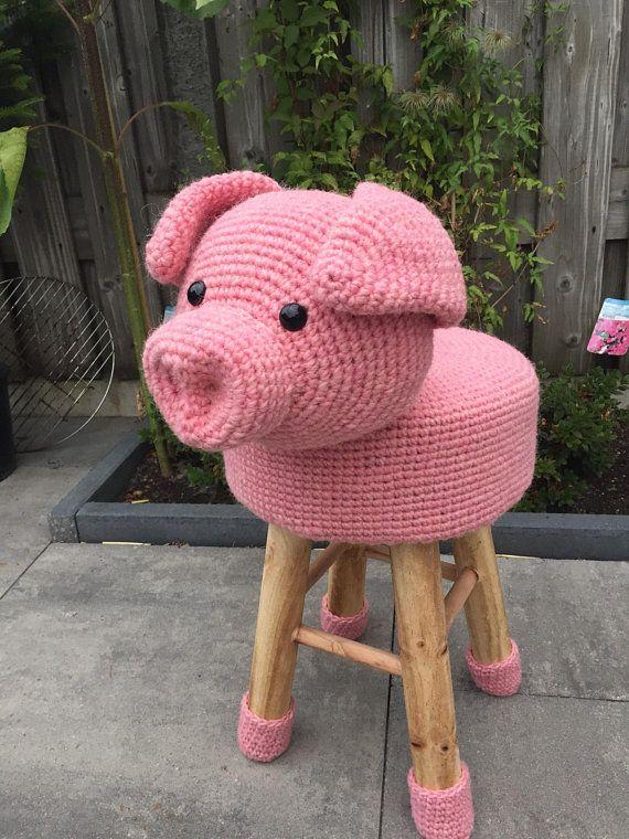 Animal Stool Pig Crocheted 100 Wool Haken Pinterest Amigurumi