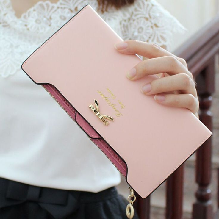 2016HOT/1PCFashion Wallet Women Lady Long Wallets Purse Female Candy Color Bow Knot PU Leather Carteira  Feminina