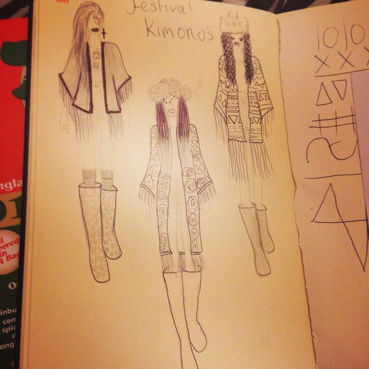Fashion illustration, festival kimonos drawn in my fashionary diary!