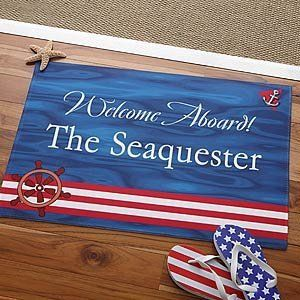 """Personalized Boat Floor Mat - Welcome Aboard Design . $22.95. Add a marina touch to your boat or dock with our Welcome Aboard! Personalized Boat Mat!We will custom personalize any 2-line message within our unique design for an impressive, personal touch! Nothing says """"Welcome Aboard!"""" better than your own Personalized Boarding Mat. A perfect accent piece to welcome guests on-board with personalized style!See our Personalization Ideas link below the image for great ways to p..."""