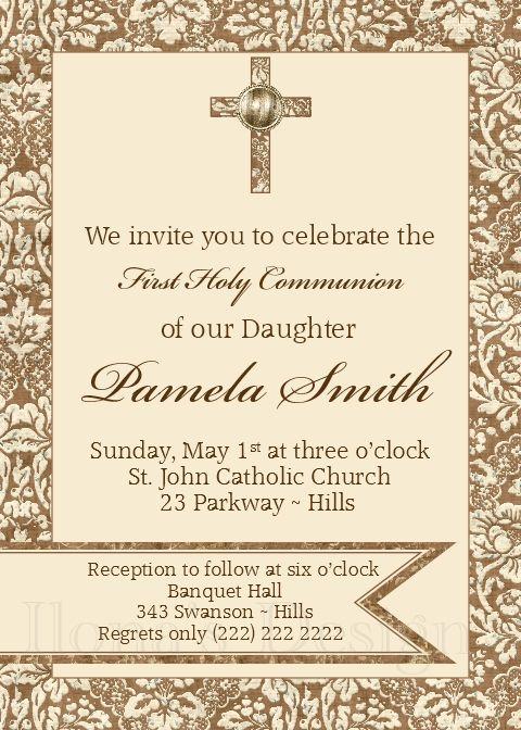 Cross Girl Communion Invitation - Girl First Communion Invitation - Damask Communion Invitation - Damask Girl Communion Invite by Ilona's Design on Etsy I @ilonaspassion