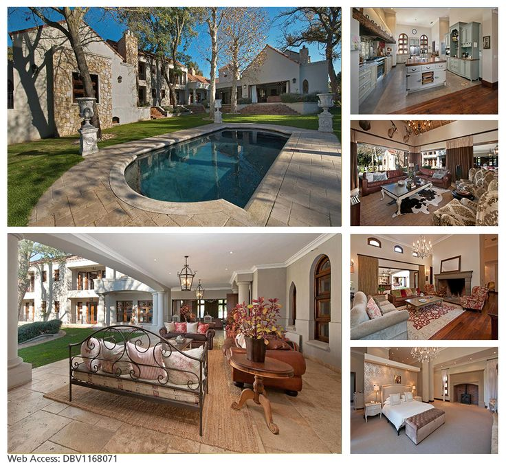 MODERN TUSCAN VILLA ON HUGE GROUNDS:  Set on park like grounds of 8,443m2 with swimming pool, four garages plus parking facilities and staff accommodation. Located in Durbanville.