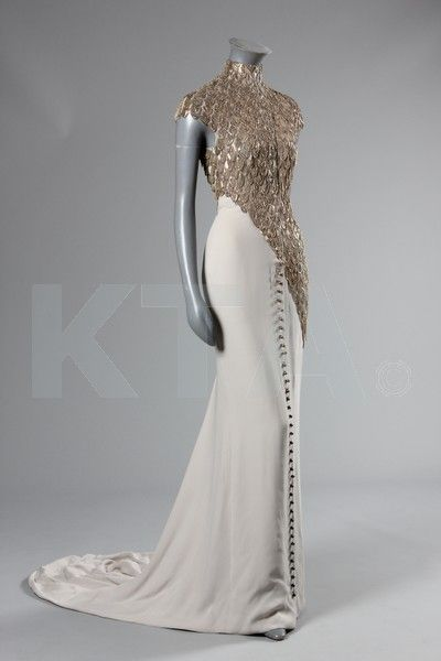 An Alexander McQueen for Givenchy chain-fringed evening gown