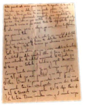 La última carta de García Lorca:  En la imagen, fragmentos de la carta de Federico García Lorca.