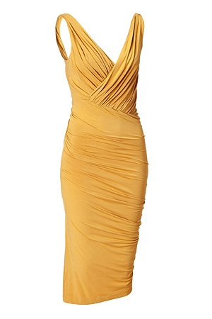 DONNA KARAN   Butterscotch Twist Draped Dress  The ultimate figure-hugging dress, this draped Donna Karan favorite will have you turning heads while maintaining comfort  V-neckline with faux wrap detail. $ 1,795