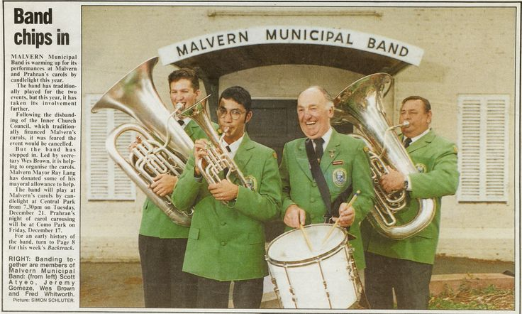 MP 57167. Members of the Malvern Municipal Band: Scott Atyoe, Jeremy Gomez, Wes Brown and Fred Whitford outside Northbook stables. Malvern Prahran Leader newspaper, 8 December 1993.