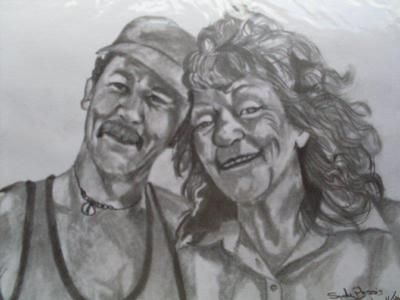 Pencil portrait of two very special people. This is no painting, just a drawing. I used different B-range pencils on this drawing. It is the first time I've drawn 2 portraits together on one page,