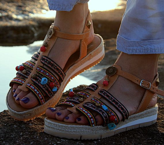 Anti slippery Leather sandals Ancient Greek by DimitrasWorkshop