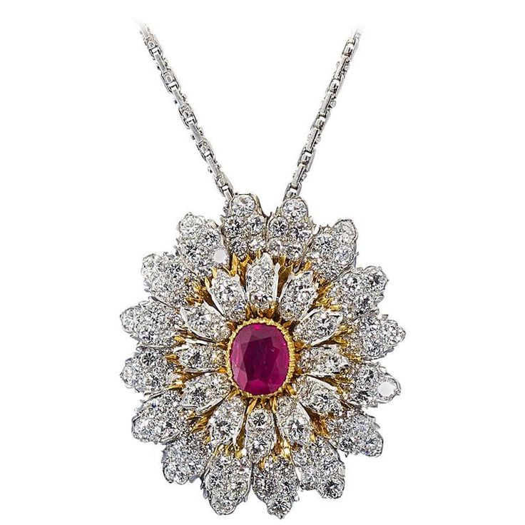 http://rubies.work/1027-sapphire-ring/ Mario BUCCELLATI Ruby Center Burst Brooch Pendant Combination