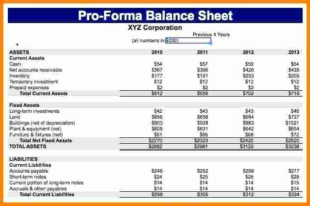 Pro Forma Financial Statement Template Awesome Pro Forma Financial Statements Example Case S Balance Sheet Template Statement Template Business Letter Template