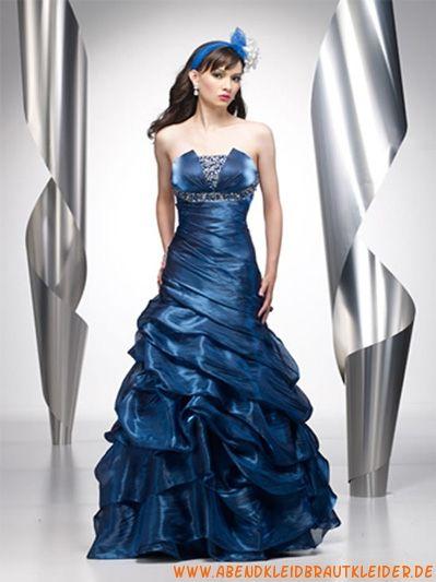 Blaues Wunderschöne Abendkleider aus Taft mit Perlen Meerjungfrau