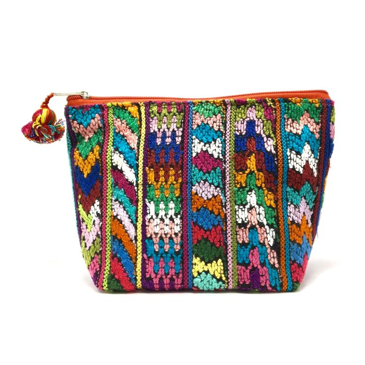 Colorful handmade cosmetic bag with upcycled huipil