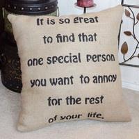 Wedding Engagement Humorous Funny Burlap PIllow Cover Slip - We Do Custom Pillows