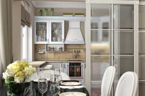 Маленькая кухня за стеклянной стеной