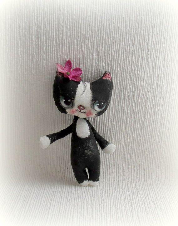 Hand painted kitty cloth doll by suziehayward on Etsy, $58.00